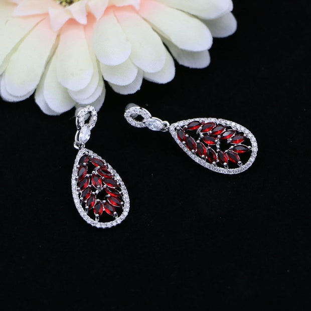 JAMILY 925 Sterling Silver Jewelry Red Stones White Crystal Dangle Long Earrings Accessories For Women