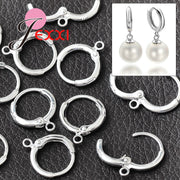 JEXXI 925 Sterling Silver Earrings Jewelry Findings Components 50Pcs/lot Lever Ear Back For Drop Earrings DIY Making Jewelry