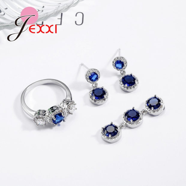 JEXXI Charm Shiny Delicate Elegant Earrings Necklace Ring Jewelry Set Clear Dark Blue Austrian Crystals 925 Sterling Silver