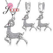JEXXI Fine Quality Christmas Gift Cute 925 Sterling Silver Cubic Zircon Crystal Sheep Women Jewelry Set For Birthday Party Gift