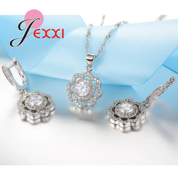 JEXXI Simple Elegant 925 Sterling Silver Jewelry Sets For Women Cubic Zircon Crystal Fashion Bridal Wedding Jewellery Set Ladies