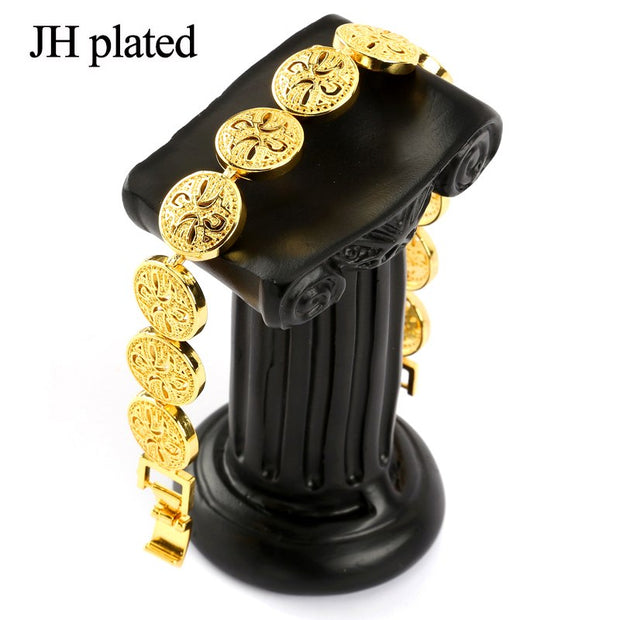 JHplated 20.5CM,Gold Bracelet For Women Men Gold Color Dubai Bangles Africa Hand Chain Fashion Jewelry