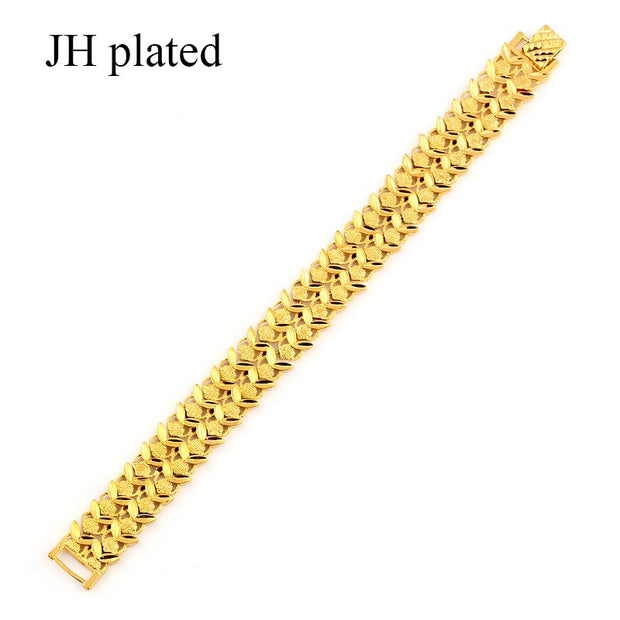 JHplated Fashion Jewelry Women Men's Bracelet Gold Color Wide Bangle For Women Best Gift Jewelry Ethiopian/Arab
