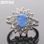 JINYAO Beautiful Simple Jewelry Round Bule Fire Opal White Gold Color Wedding Ring For Women Party Engagement Jewelry