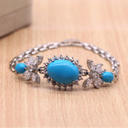 JINYAO Fashion White Gold Color Bracelets Blue Stone &Zircon Chain Bracelet Bangle For Women Party Jewelry