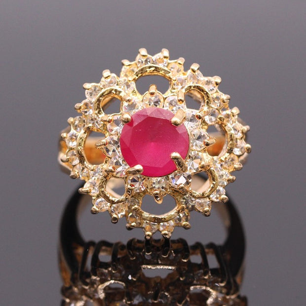 JINYAO Luxurious Jewelry Party Accessories Champagne Gold Color Red AAA Zircon Women's Rings For Weddding Birthday Gift