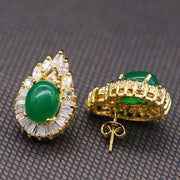 JINYAO Water Drop Charming Yellow Gold Color Oval Green Stone&AAA Zircon Stud Earrings For Women Fashion Birthday Gift Jewelry