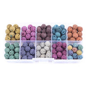 JOCESTYLE 1 Box DIY Colorful Energy Lava Stone Bead Black Volcanic Lava Round Beads Kit Jewelry Making Material Wholesale