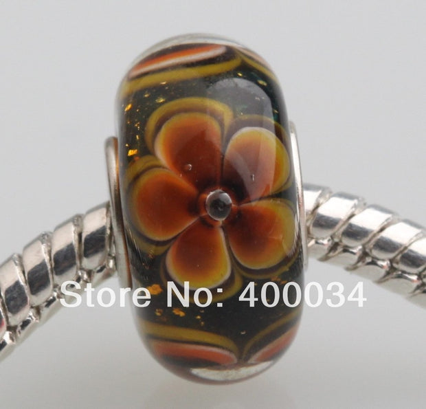 JP024 Best Selling Silver Plated Single Core Lampwork Glass Beads With Beautiful Flowers Fit For European Bracelets & Necklaces
