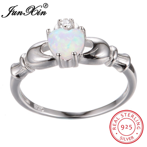 JUNXIN 925 Sterling Silver Claddagh Engagement Ring Heart White Fire Opal Wedding Rings For Women Unique Birthstone Jewelry