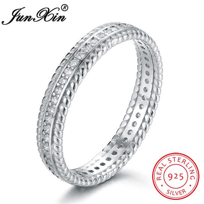JUNXIN Genuine 925 Sterling Silver Engagement Rings For Women Men White Zircon Eternity Ring Female Male Vintage Couple Jewelry