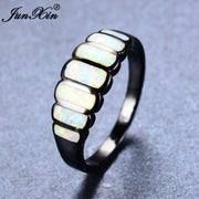 JUNXIN New Sale Geometric Design White Fire Opal Ring Black Gold Ring Vintage Wedding Rings For Women Fashion Jewelry