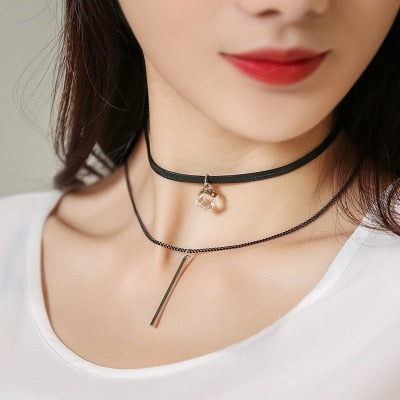 Japan Korea Double Circle Zircon Pendant Necklace Clavicle Chain Fashion Short Necklace Women Neckband Collar Jewelry