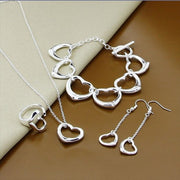 Jewelry Sets Silver Color Full Heart Necklace Bracelet Earrings Rings Jewelry Set Wedding Engagement E202