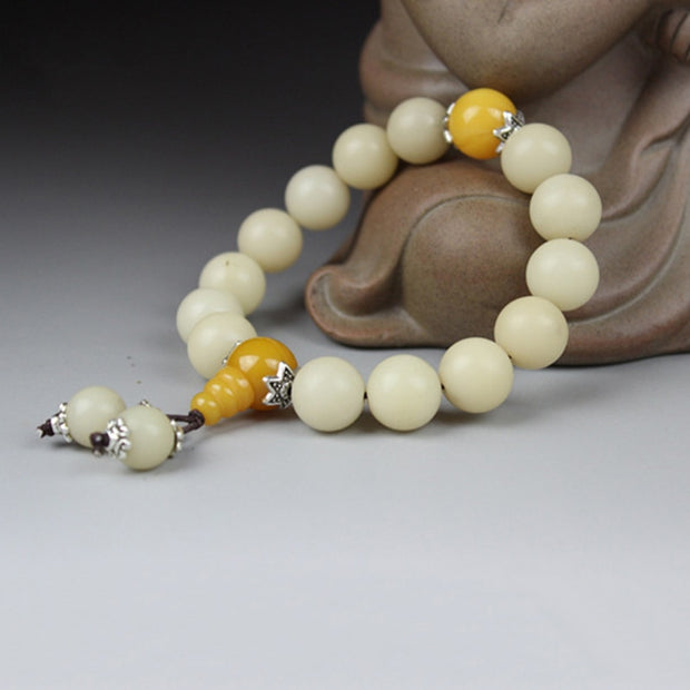 JoursNeige Primitive White Bodhi Root Bracelets Size 12mm 15mm Plus Spacer Buddha Prayer Japa Mala Jewelry Accessories