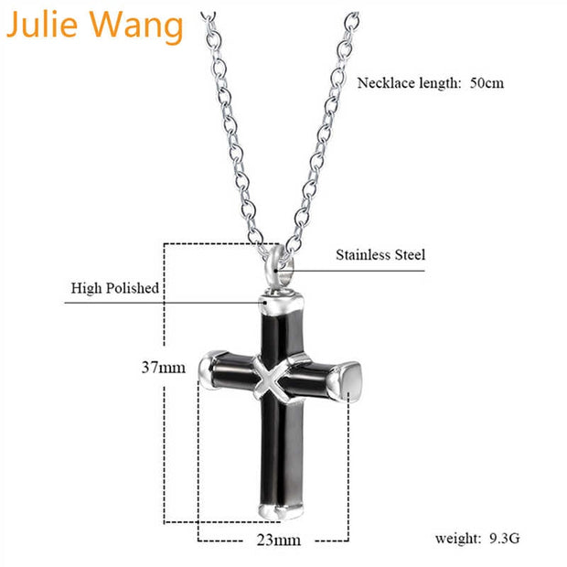 Black and Silver Cross Cremation Jewelry Keepsake Urn Necklace for Ashes