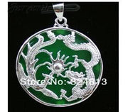 Jxryxrth Brand 2018 NEW Women/Men Fashion Delicate Green Silver Inlay Dragon PHENIX Pendant Pendants Necklaces ''K265