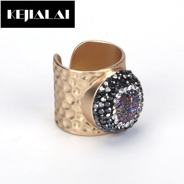 KEJIALAI Women Jewelry Punk Accessories Metal Rings For Men Women Natural Stone Layer Paved With Rhinestone Druzy Quartz Gift