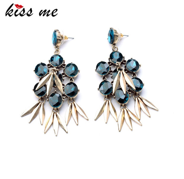 KISS ME 2017 Statement Trendy Jewelry Antique Glass Stone Rivet Drop Earrings For Girls