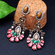 KISS ME Natural Stone Crystal Water Drop Flower Earrings Trendy Alloy Vintage Drop Earrings Women Accessories