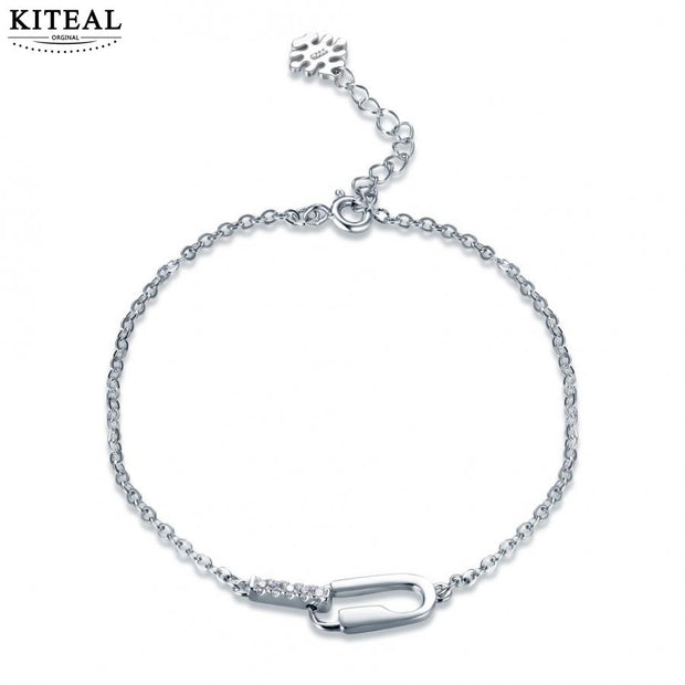 KITEAL 2018 New 925 Sterling Silver Exquisite European Style Shiny Crystal Rhinestone Simple Personality Creative Bracelet