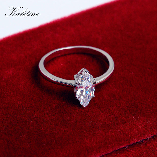Kaletine 925 Sterling Silver Ring For Women Marquise Cut Cubic Zirconia Engagement Weding Party Fahion Jewelry Wholesale KLTR015