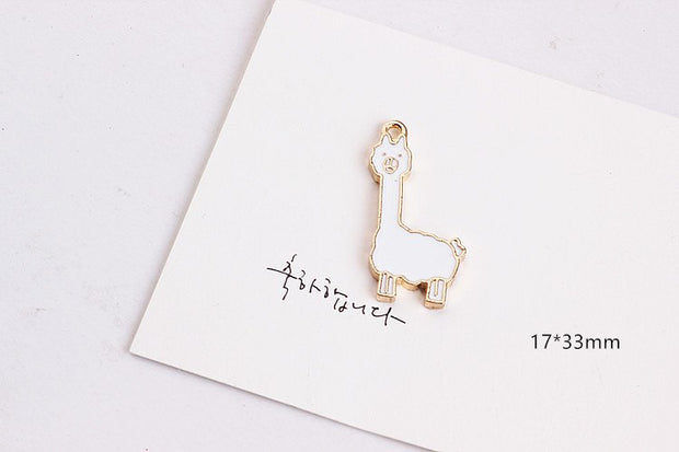 Kawaii Alpaca Cute Heart/Cartoon Figure Metal Charm For Jewelry Making Handmade Planner Charm For Necklace/Bracelet/Earring 20pc