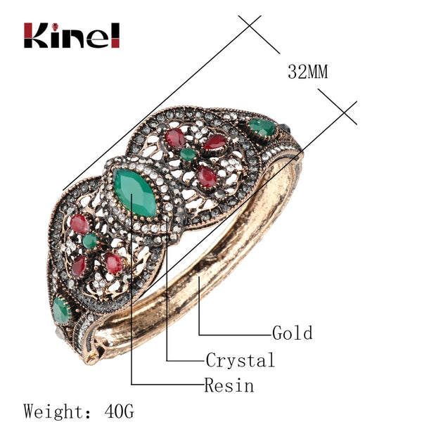 Kinel Wide Big Bangles For Women Antique Gold Turkish