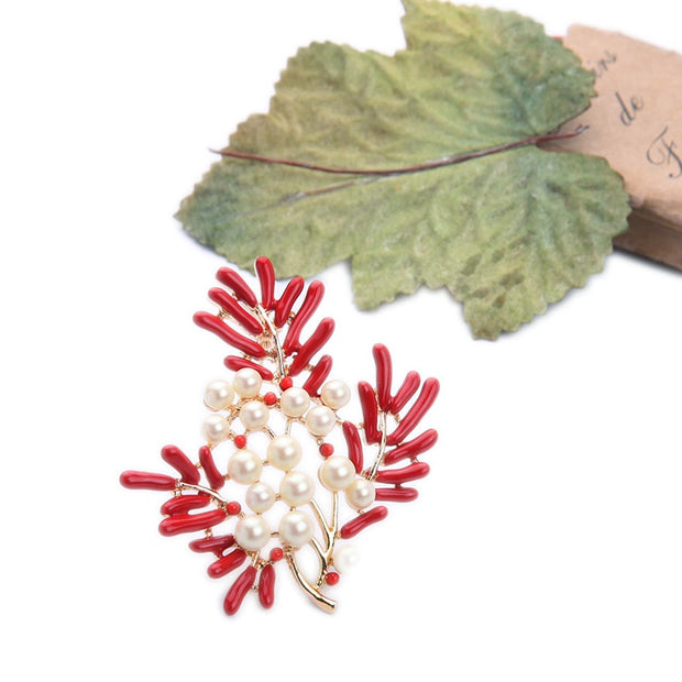 Kiss Me New Design Red Enamel Imitation Pearls Branch Flowers Brooch For Women Summer Gold Color Brooches