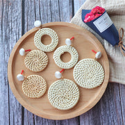Korea Fashion Jewelry Handmade Acrylic Wood Geometric Big Hollow Round Circle Rattan Straw Weave Long Dangle Earrings For Women