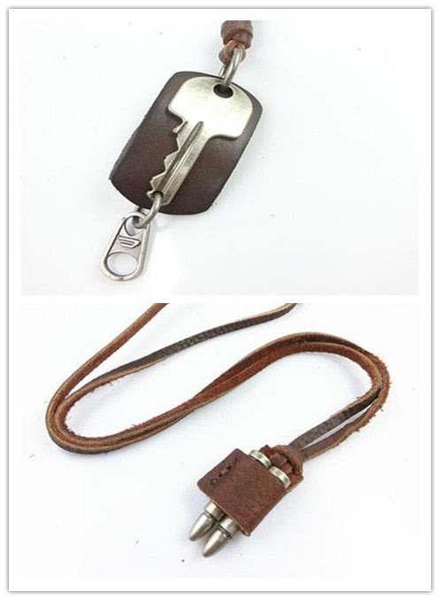 Korean Version Of The Simulation Key Alloy Leather Men's Long Necklace Chain Bullet Personality Leather Couple Necklace