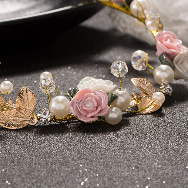 Korean New Pearl Rhinestone Ceramic Pink Flower Earrings Sets Wedding Headdress Soft Chain Accessories Manufacturers