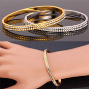 Kpop Bangles Bracelets For Women Gold/Silver Color Austrian Rhinestone Fashion Jewelry Crystal Vogue Bangles H006