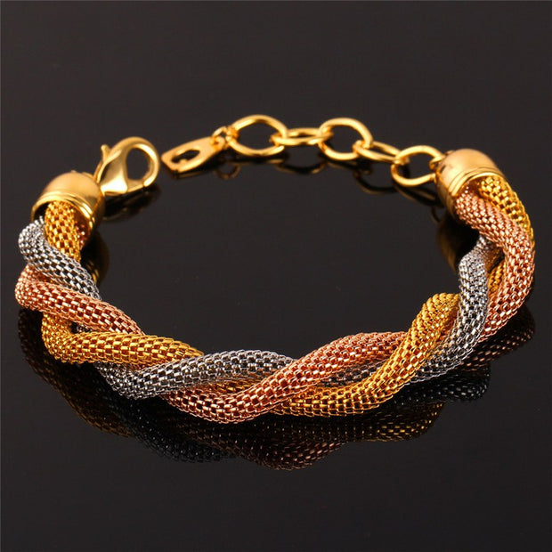 Kpop Bracelets Women / Men Trendy New Gold/Rose Gold/Silver Color 17CM + 5CM 3 Color Charm Bracelet H138