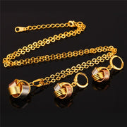Kpop Earrings Pendant Necklace Jewelry Set For Women New Drop Earrings Trendy Gold Color Jewelry Set PE149