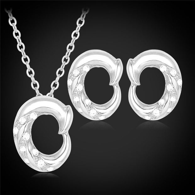 Kpop Pendant Necklaces Earrings Set For Women Gold/Silver Color Austrian Rhinestone Jewelry Sets Fashion New PE972