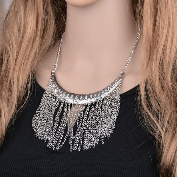 L J Bohemian Vintage Ancient Silver Color Half Moon Tassel Necklace & Pendant Fashion Women Boho Jewelry Bijoux