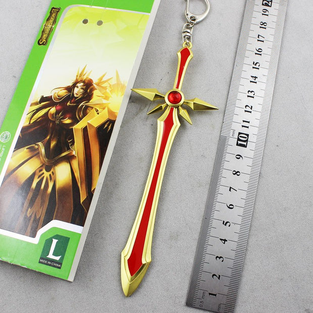 LOL Game Keychain Leona The Radiant Dawn Sword Keychain Model LOL Fans Key Chains Game Keychain Delicate Game Sword Gift