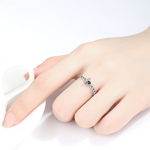 LUOTEEMI Retro 100% 925 Sterling Silver Rings For Women And Men Black Cubic Zirconia Vintage Thai Silver Rings Jewelry Gifts