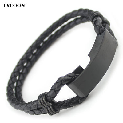 LYCOON Punk Bangles With Genuine Leather Steel Round Beads Anchor Pattern Blue Resin Bangle Bracelets For Men Length Adjustable