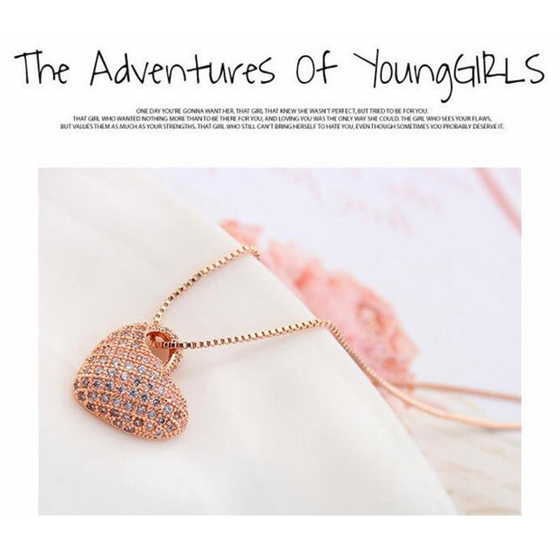 Labekaka AAA Class Zircon Heart Necklaces Copper Plated Gold For Woman New Fashion Party Gift Pendant