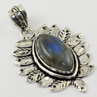 Labradorite Pendant Silver Overlay Over Copper ,52 Mm, P1763