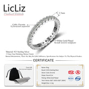 LicLiz 925 Sterling Silver Eternity Ring For Women Micro Pave CZ Cubic Zirconia Wedding Band Bridal Engagement Rings Anel LR0453