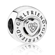 Logo Signature Girlfriend Family & Love Is Forever With Crystal Beads Fit Pandora Bracelet 925 Sterling Silver Charm Diy Jewelry