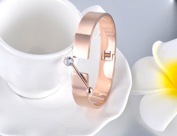 Lokaer Classic CZ Crystal Stainless Steel Cuff Bracelet Jewelry For Women Rose Gold Viking Wedding Bangle Valentine Gift B19008
