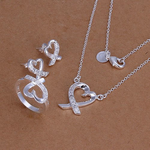 Lose Money Promotions! Plated Silver Jewelry Set, Fashion Jewelry Set Inlaid Heart Ring Earrings Necklace Jewelry Set KDS204