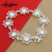 Luxury Jewelry Silver 925 Fashion Hollow Flower Charm Bracelets For Women Silver 925 Jewelry