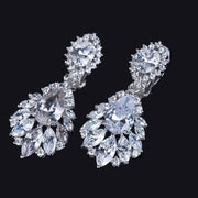 Luxury No Pierced Ears Style Water Drop Cubic Zirconia Women Clip On Earrings Without Piercing Wedding
