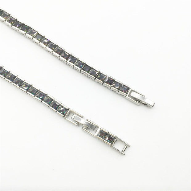 Luxury Sparkling Bracelets & Bangles For Women Rainbow Mystic & White Color Silver Bracelet Wholesale & Retail
