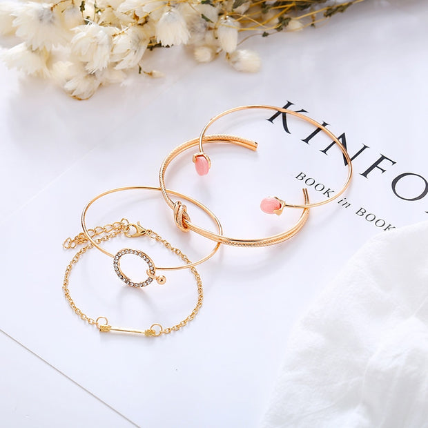 MFNFYH 4PCS/Set Luxury Gold Silver Color Knot Arrow Open Cuff Bangle Set Rhinestone Round Bracelet For Women Wedding Jewelry